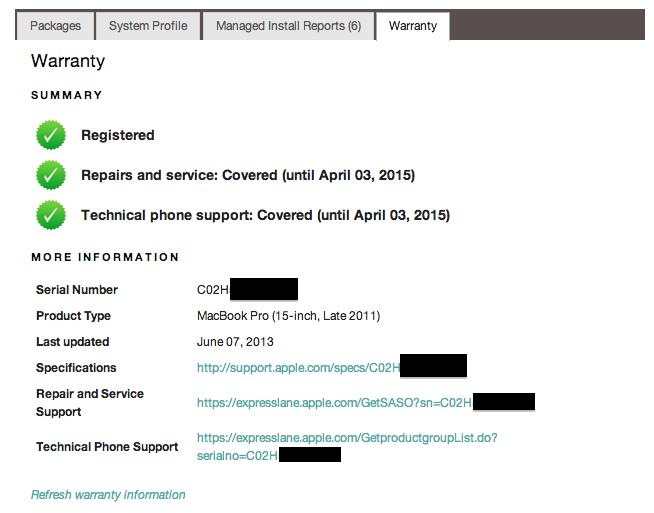 Fix warranty check due to new GSX · Issue #167 · jnraine/munkiserver