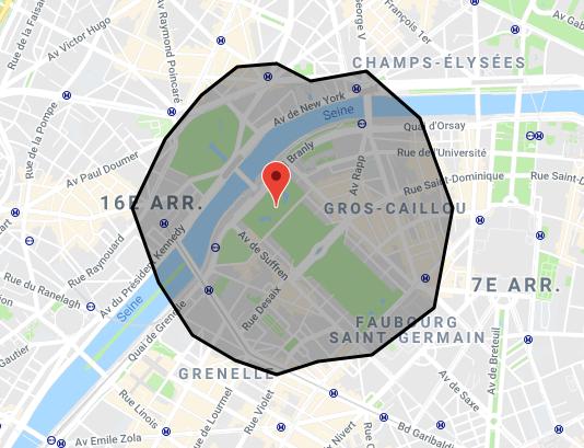 Eiffel Tower isochrone