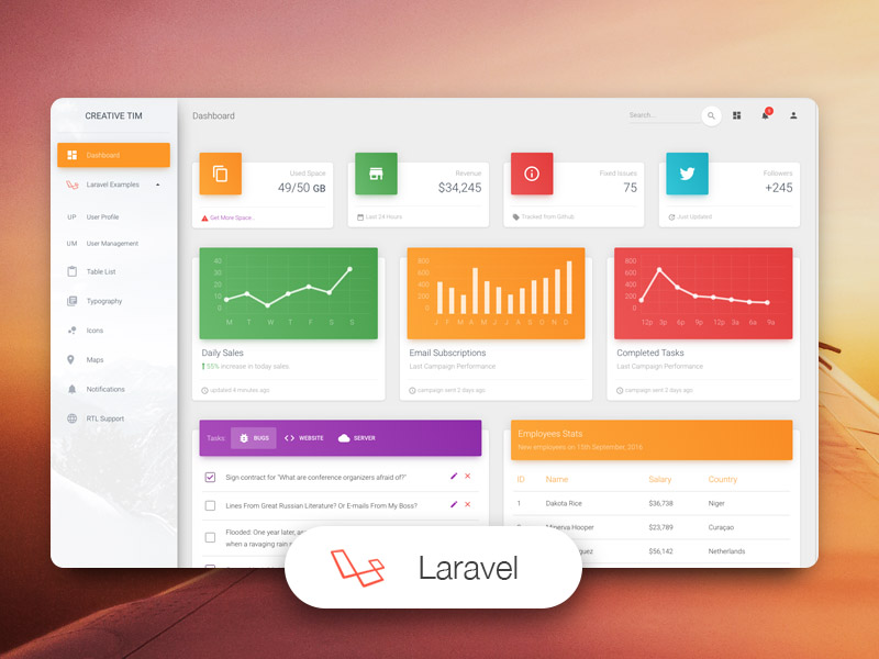 Material Dashboard Laravel