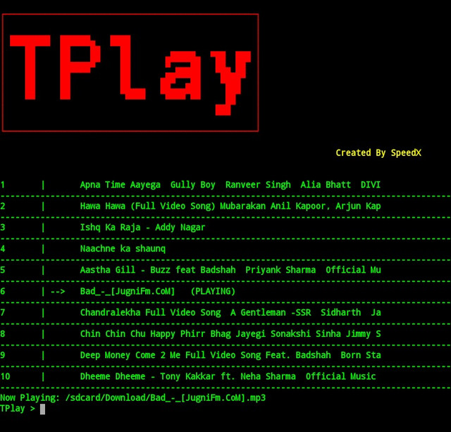 GitHub - TheSpeedX/TPlay: Play Music in Termux Like a GeeK