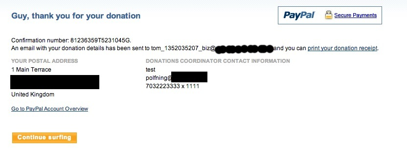 Paypal process completed