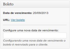 2. Metabox onde é possível pegar o link do boleto e também alterar a data de vencimento.