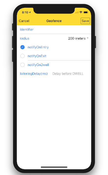 Tap-hold to add geofence