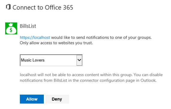 Select group to connect to