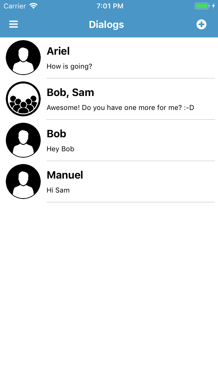 Chat code sample for NativeScript - dialogs list