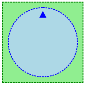 A blue knob with an upward tick on a green background