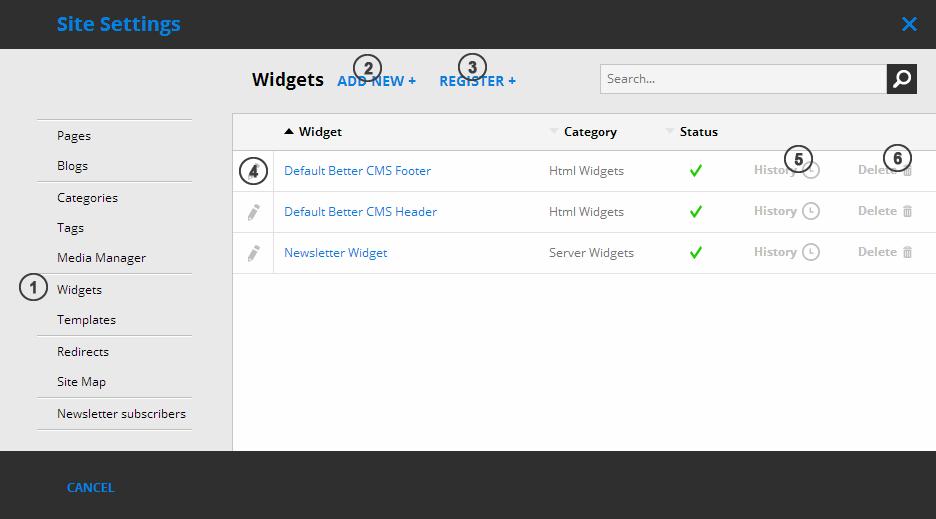 Site Settings - Widgets