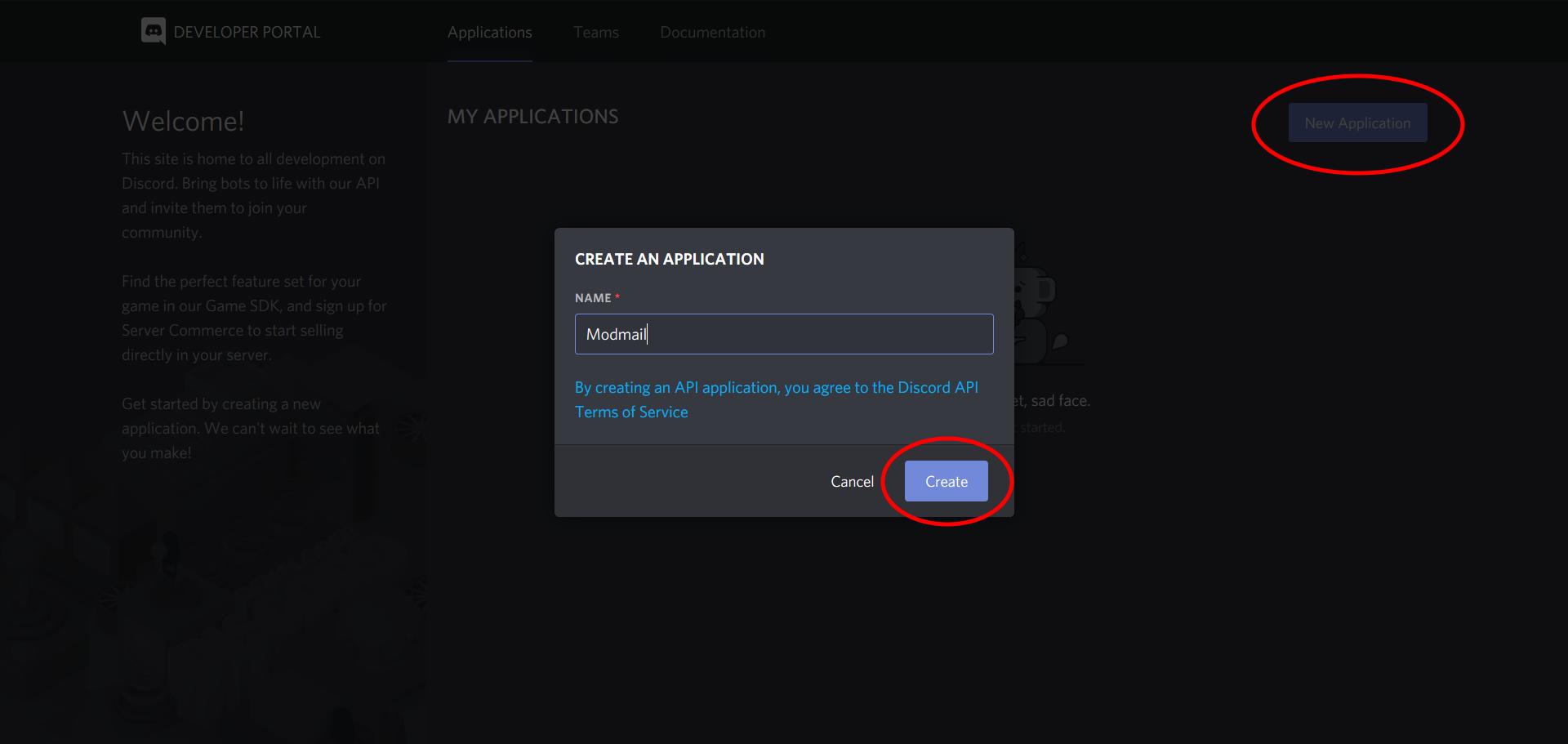 Discord New Application