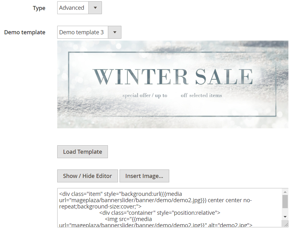 demo template banner slider