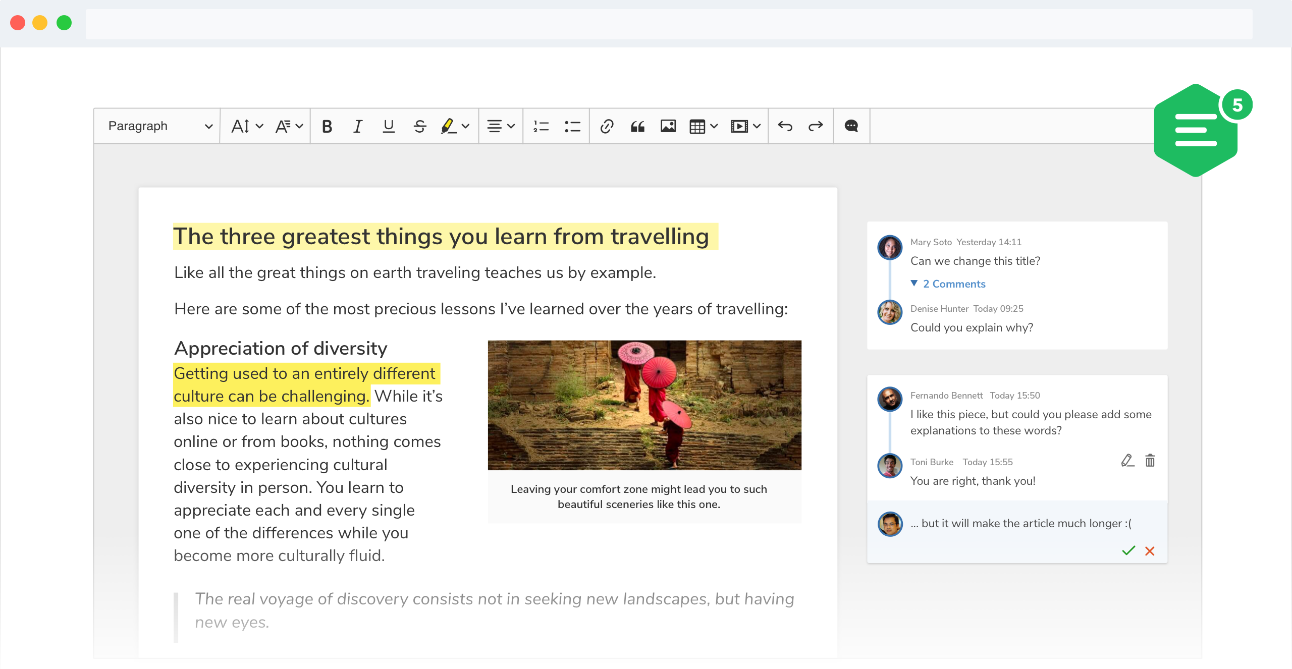 A screenshot of CKEditor 5 comments feature with suggestions displayed in the wide sidebar