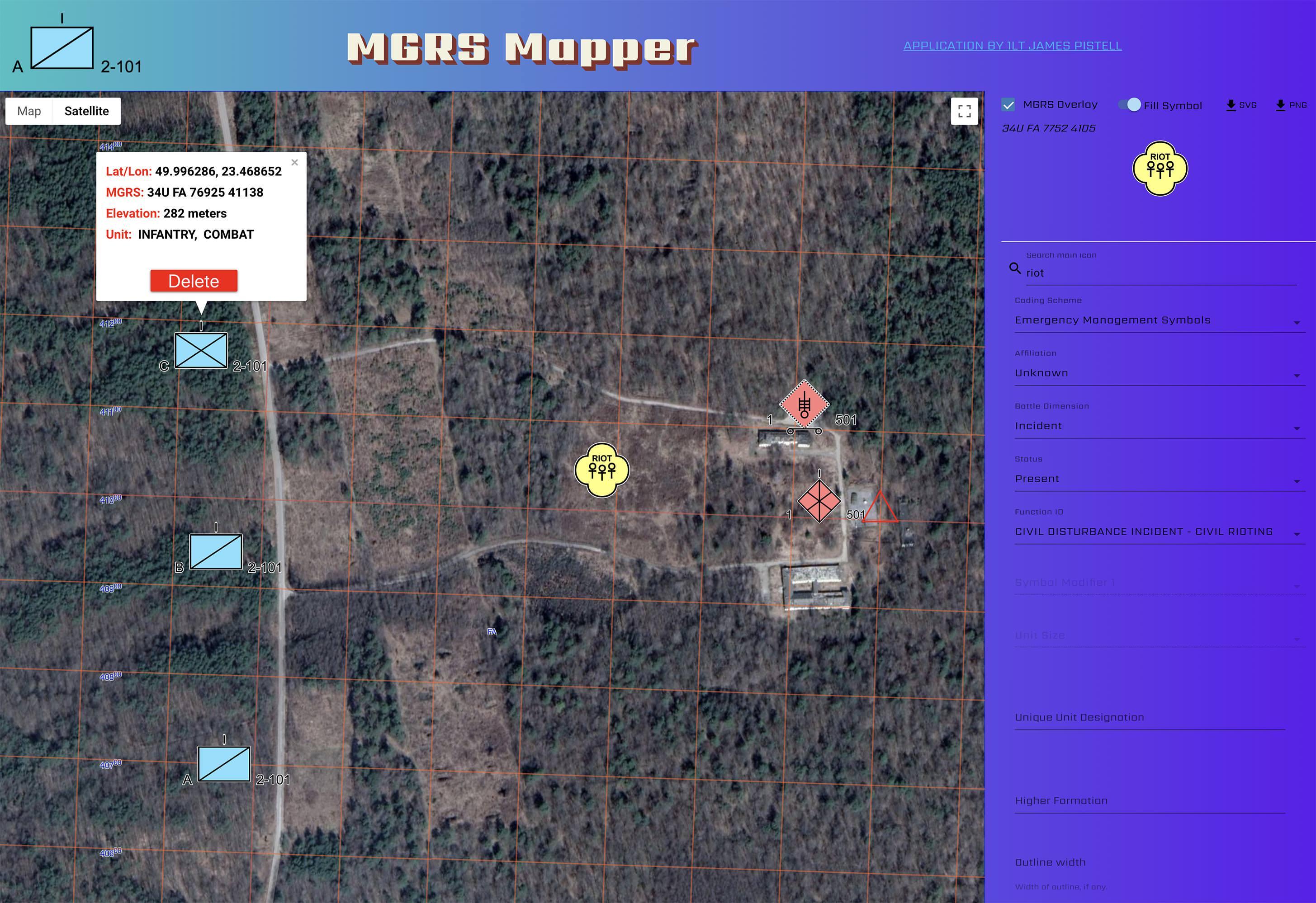 MGRS Mapper Screenshot