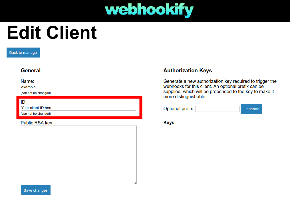 Webhookify Edit Client view