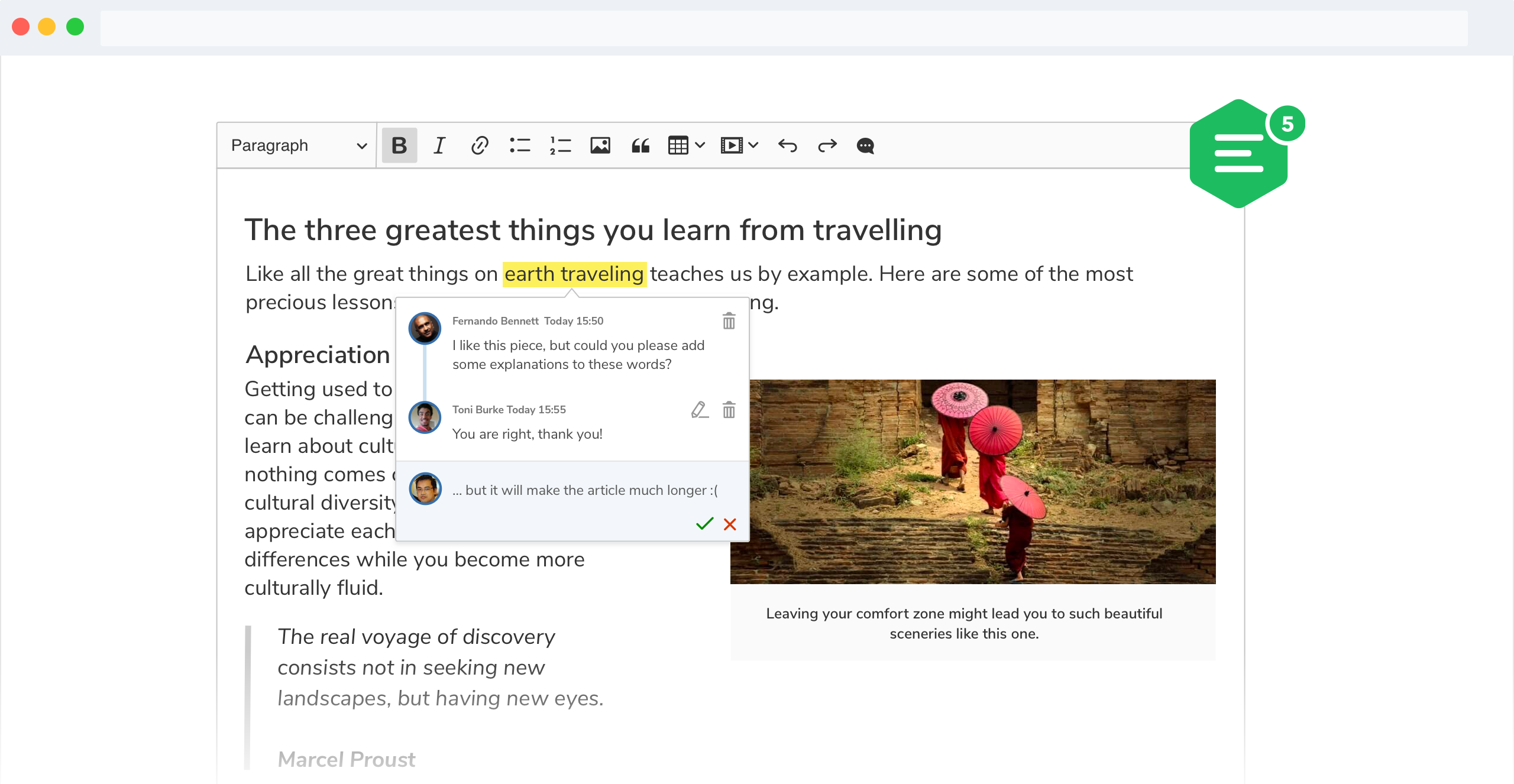 CKEditor 5 WYSIWYG editor inline comments feature screenshot