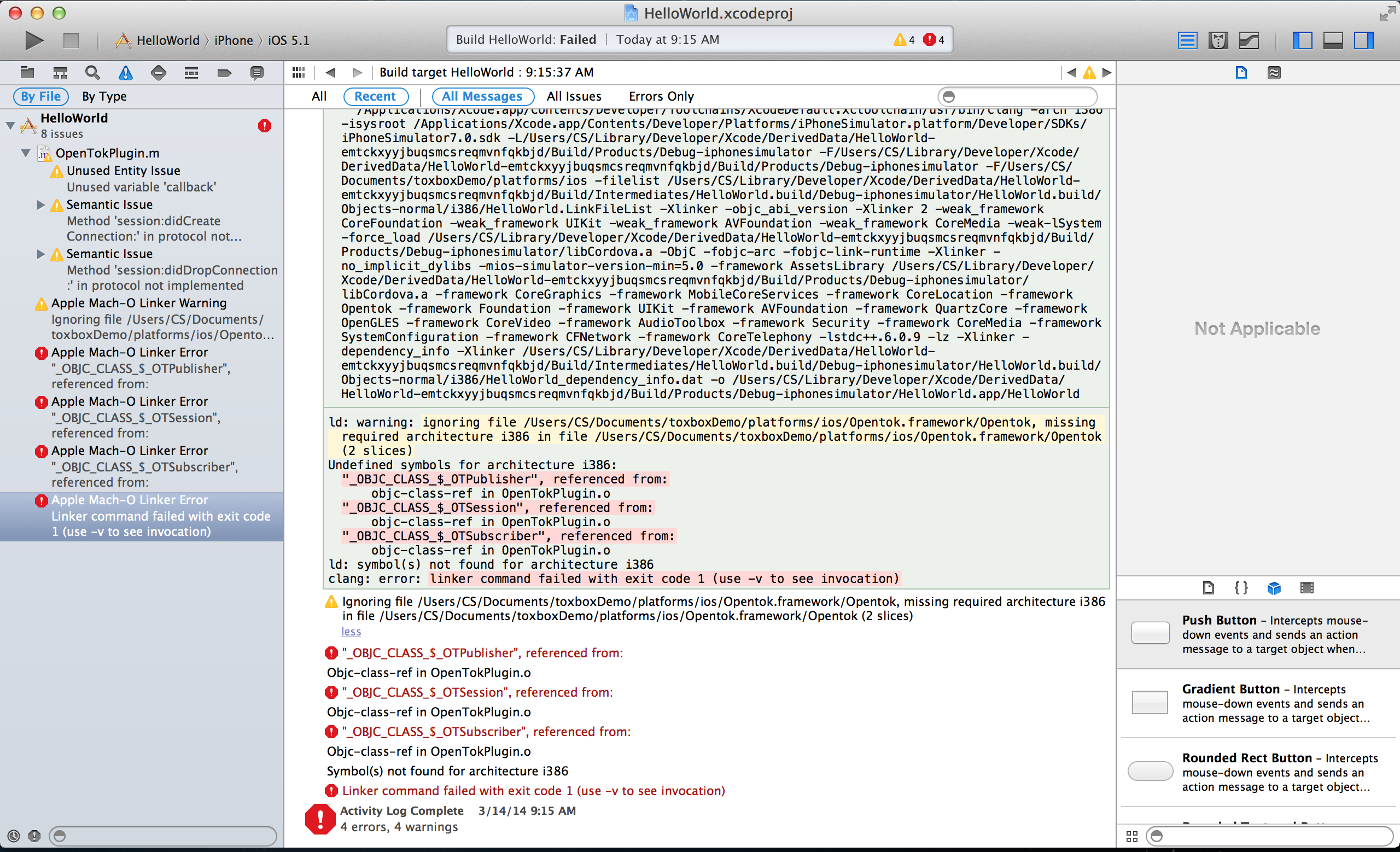 Building ios project, linker errors