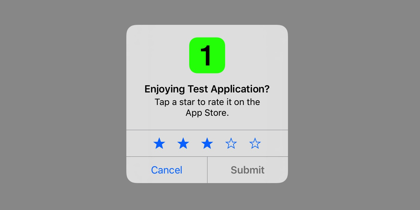 iOS rate popup