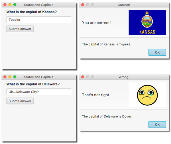 "Screenshot of ""States and Capitals Quiz"""