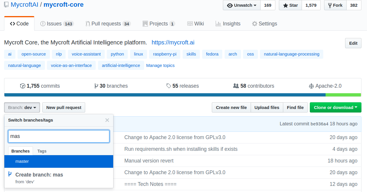Changing from the default dev branch to master on mycroft-core