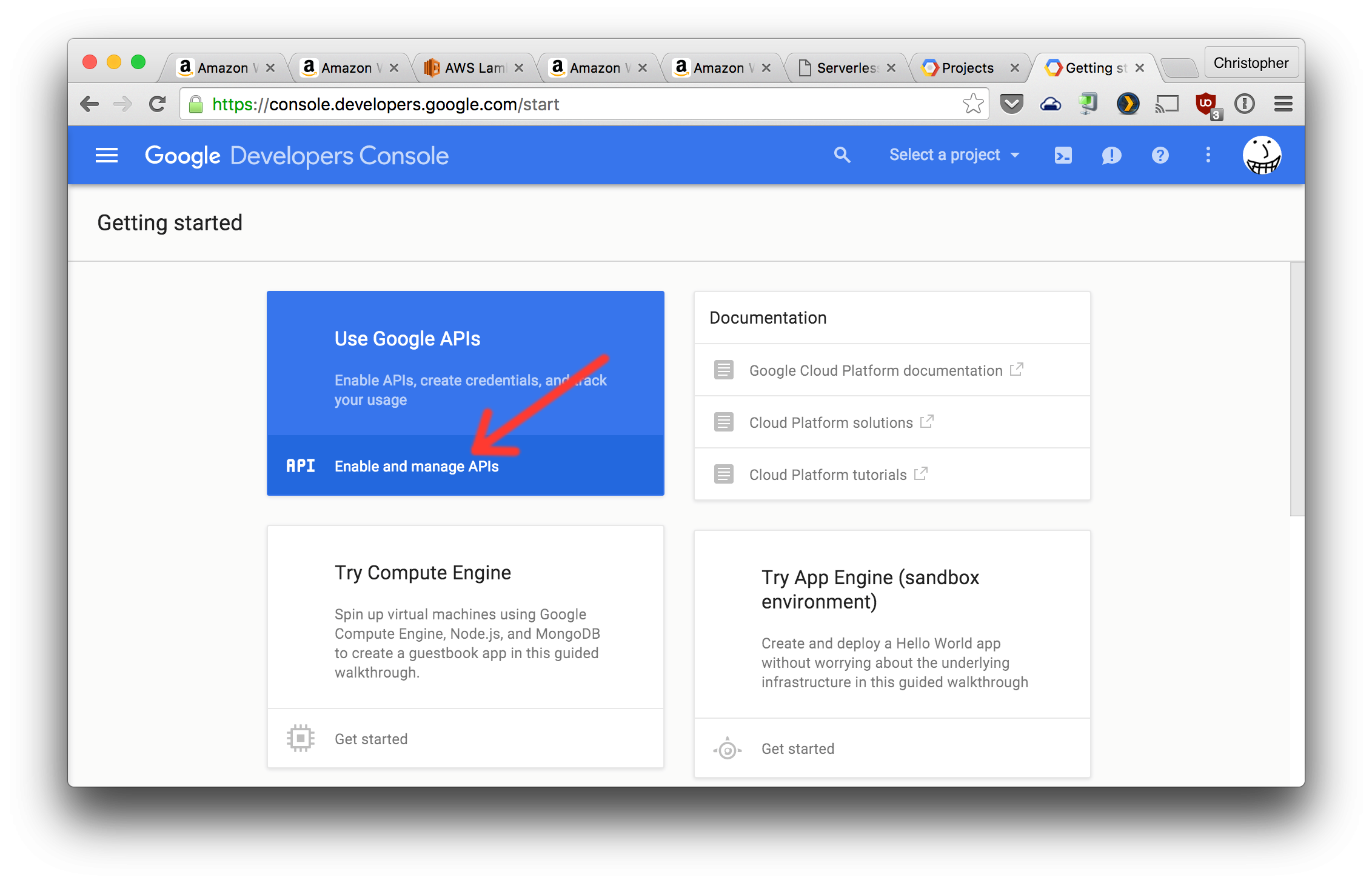 Create Google project