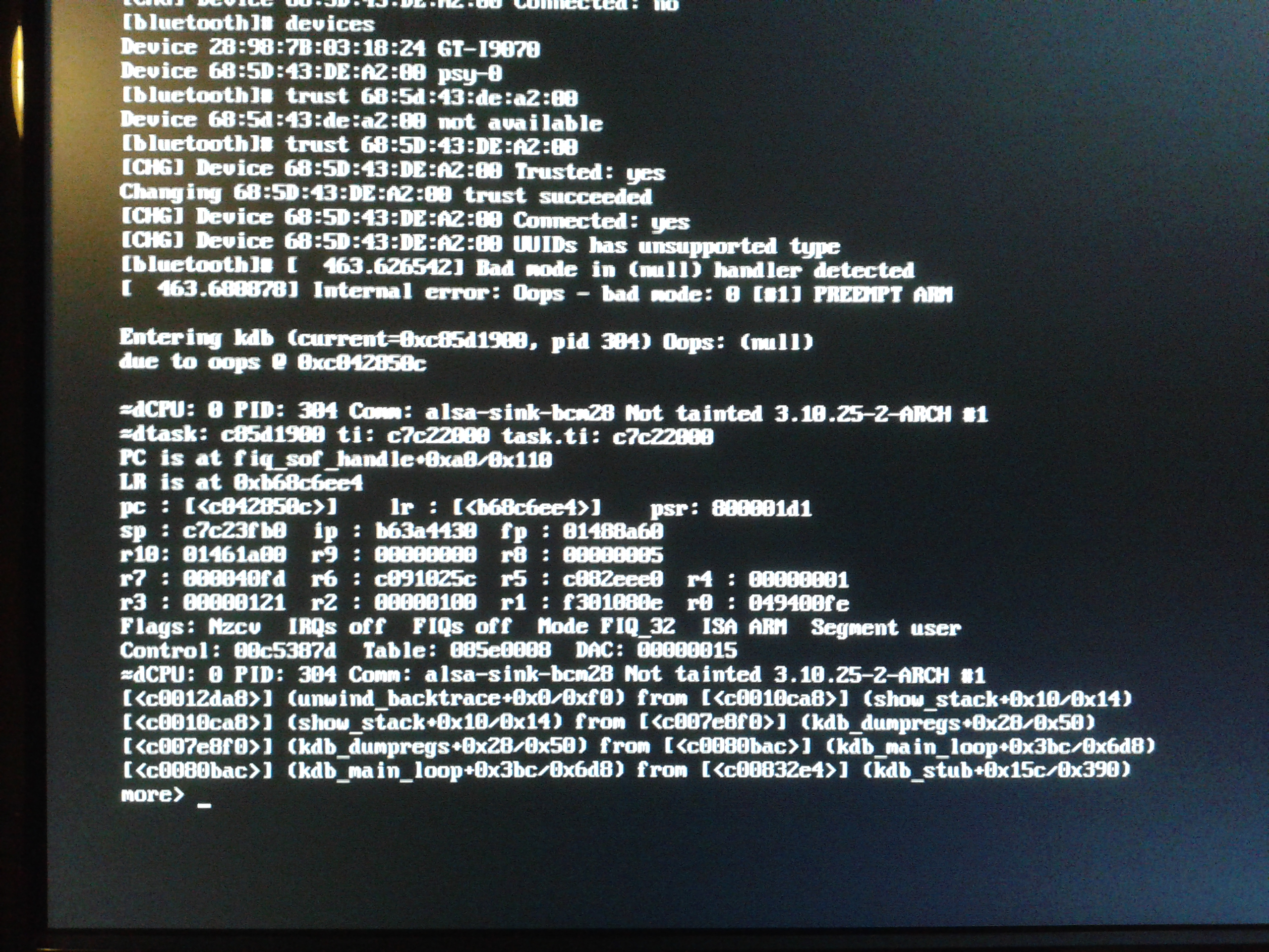 kernel oops while dereferencing null pointer in function