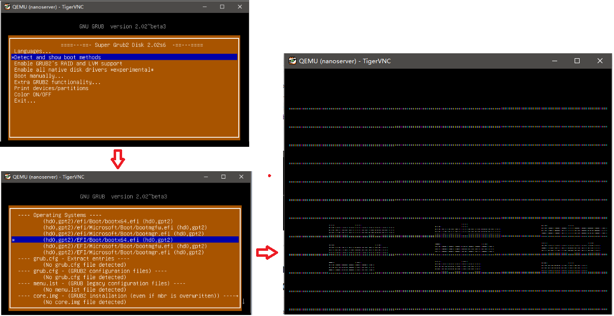 Display corrupted when start nano server with qemu via