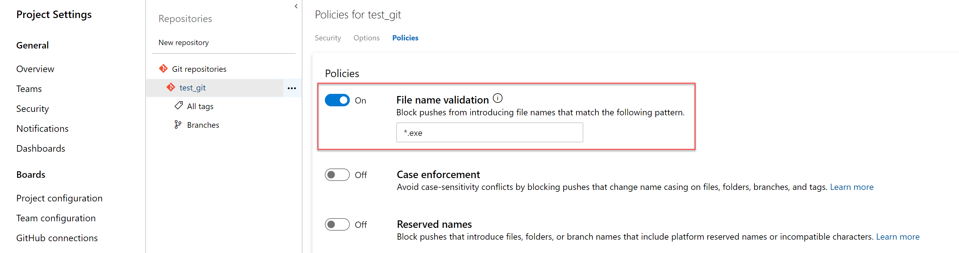 Policy to block files with specified patterns