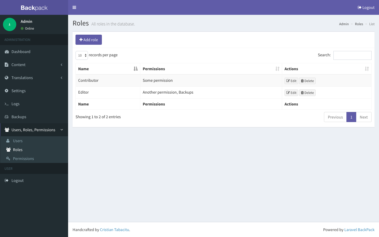Roles table view in Backpack/PermissionManager