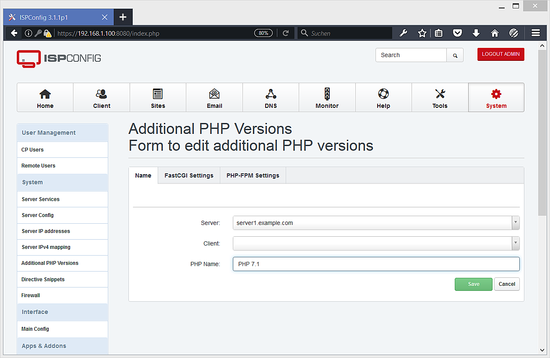 Additional PHP Versions - Name