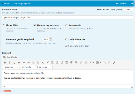 CoursePress - Course - Units - Elements - File Upload