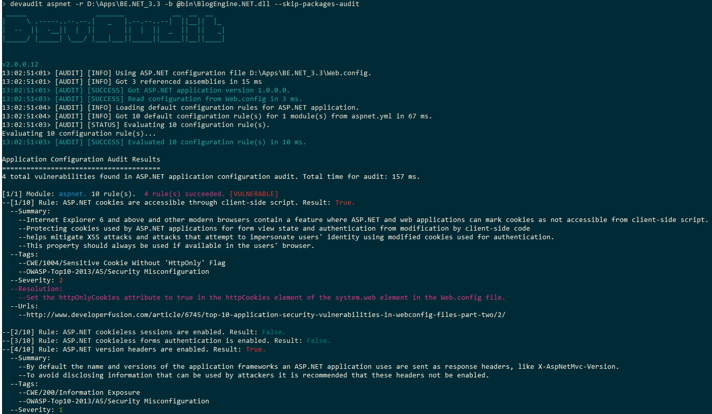 Screenshot of DevAudit ASP.NET application audit