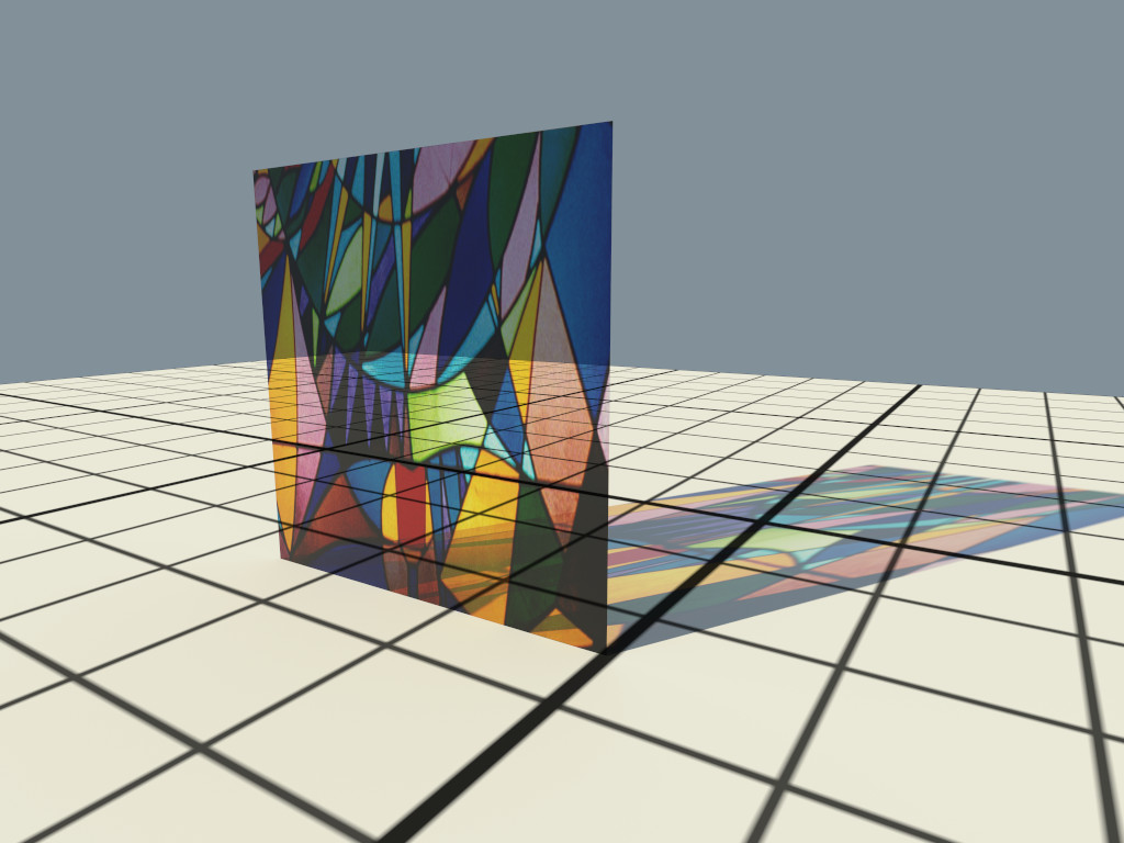 Example image of a colored window made with textured attenuation of the ThinGlass material.