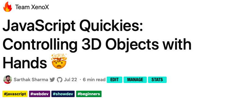 JavaScript Quickies: Controlling 3D Objects with Hands