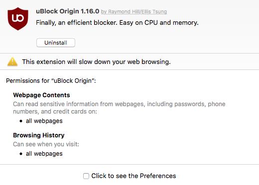 Safari auto disables Ublock Origin with error: