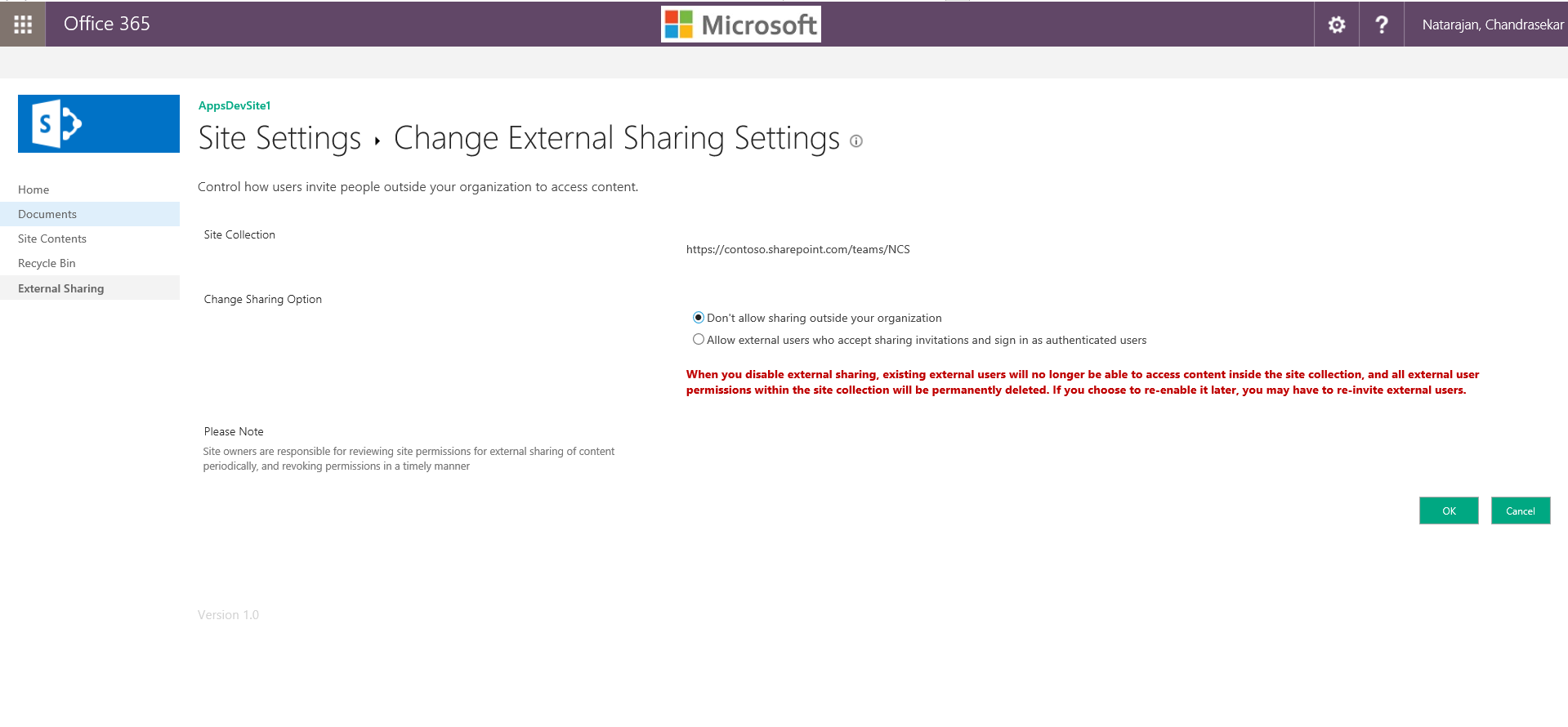 UI when external sharing is disabled from site settings