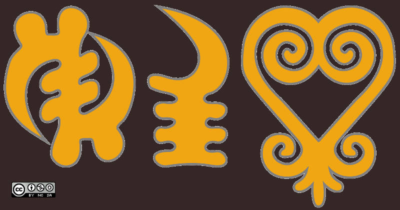 Adinkra symbols with partly religious meaning or background, Own image, Oliver Merkel, Creative Commons License, This work is licensed under a Creative Commons Attribution-NonCommercial-ShareAlike 4.0 International License.