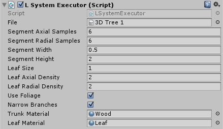 LSystemExecutor in object inspector