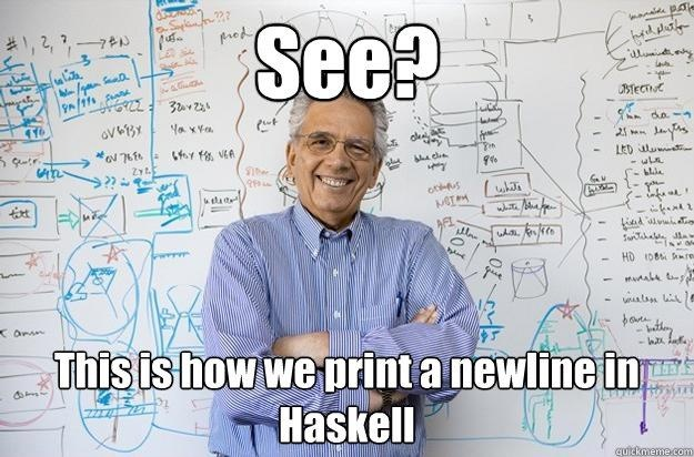 Printing a newline in Haskell