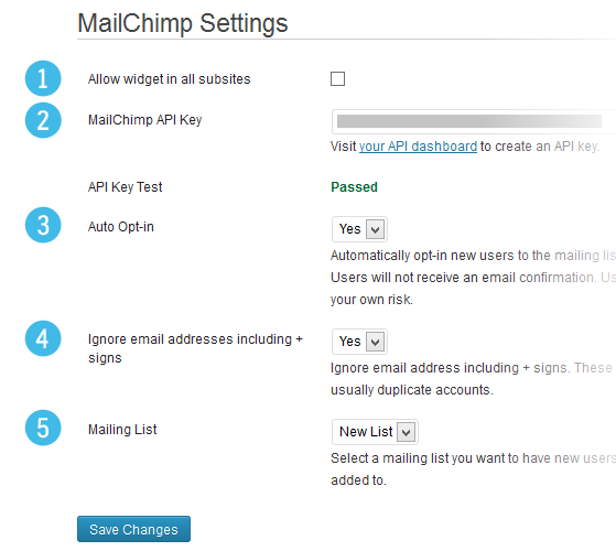 1. Allow sub-sites to use the widget. 2. Your MailChimp API key. 3. Select whether users should be opted in automatically. 4. Ignore duplicate email accounts. 5. Select your mailing list.
