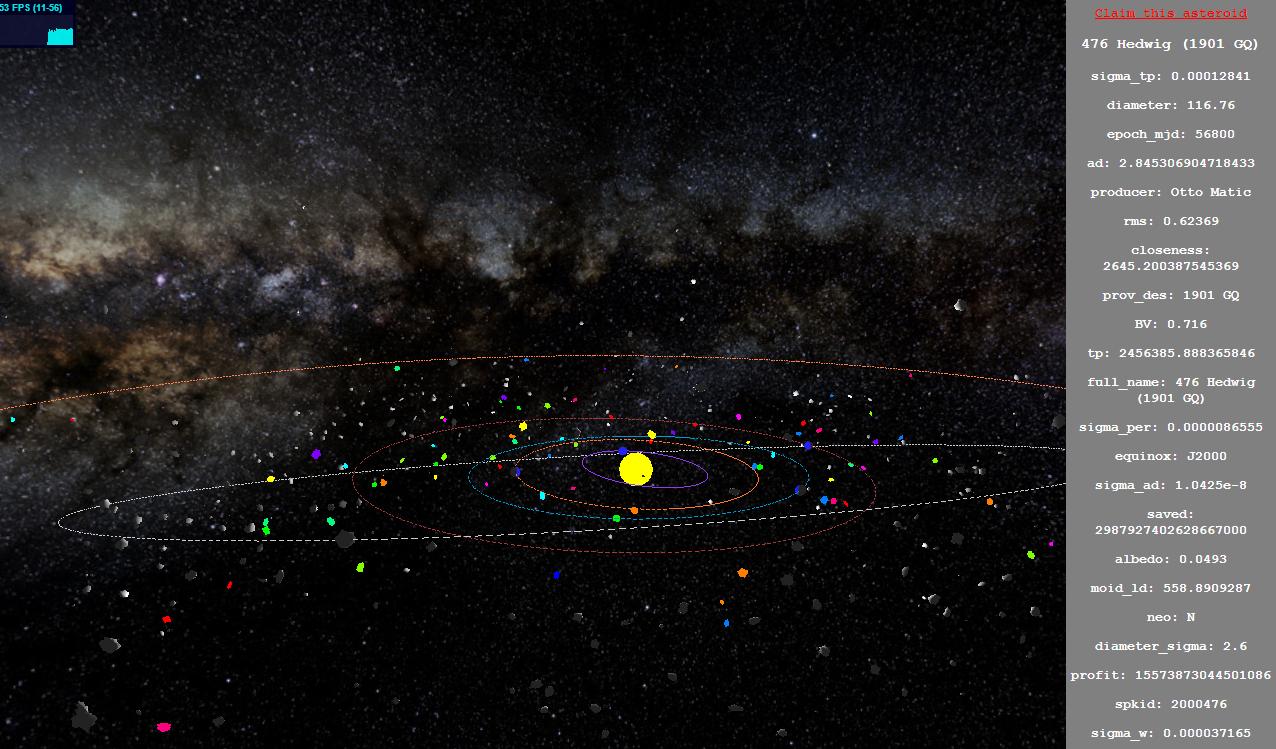 asteroid hunting in webGL