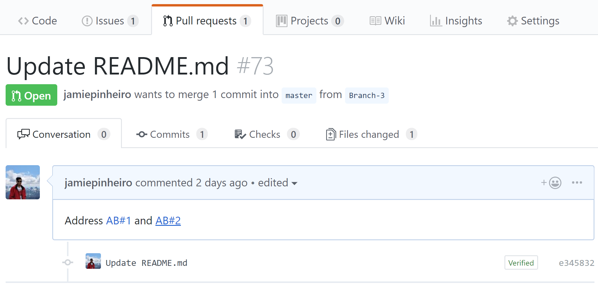 Linked mentions in GitHub pull requests
