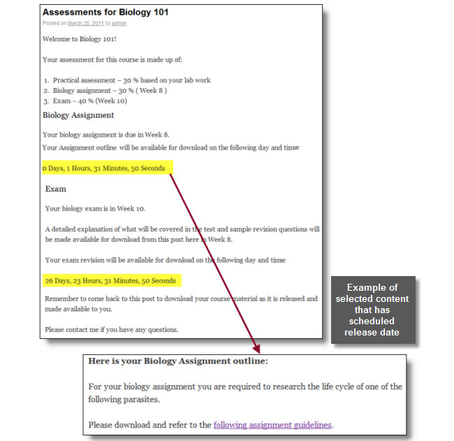 Example of schedule content release
