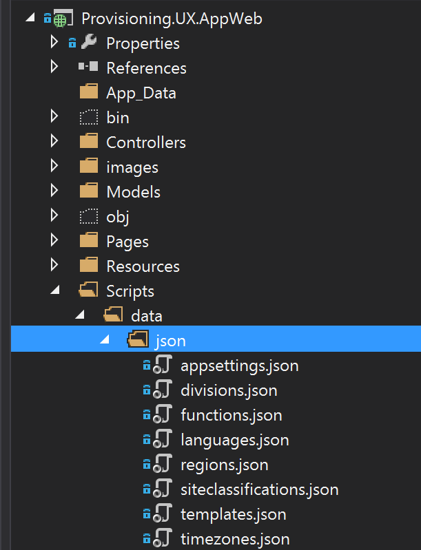 Picture of JSON folder content in the Provisioning.UX.AppWeb project