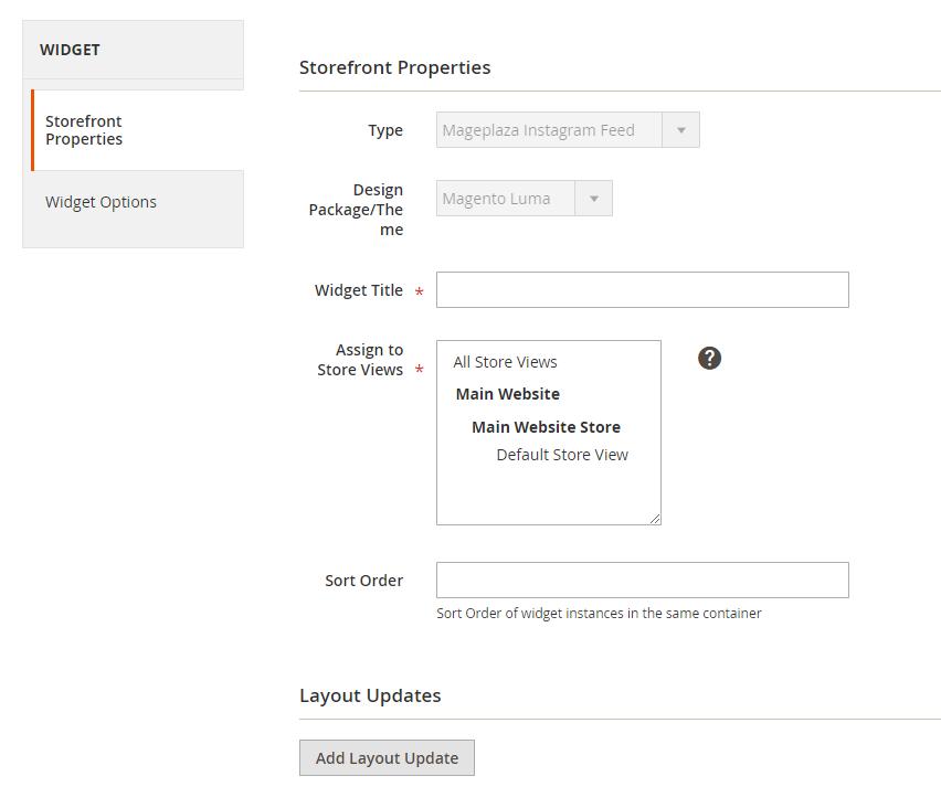 Instagram Widget Configure the Storefront Properties section