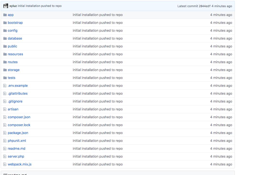 Laravel Now on remote GitHub Repo