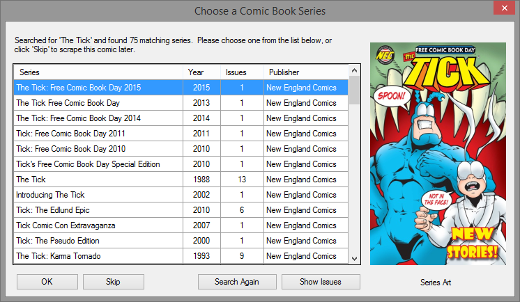 Dialog where you choose which series from Comic Vine matches your comic.
