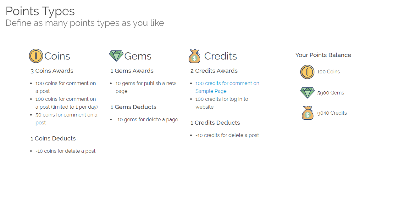 Configure as many points types as you like: Credits, Gems, Coins, etc