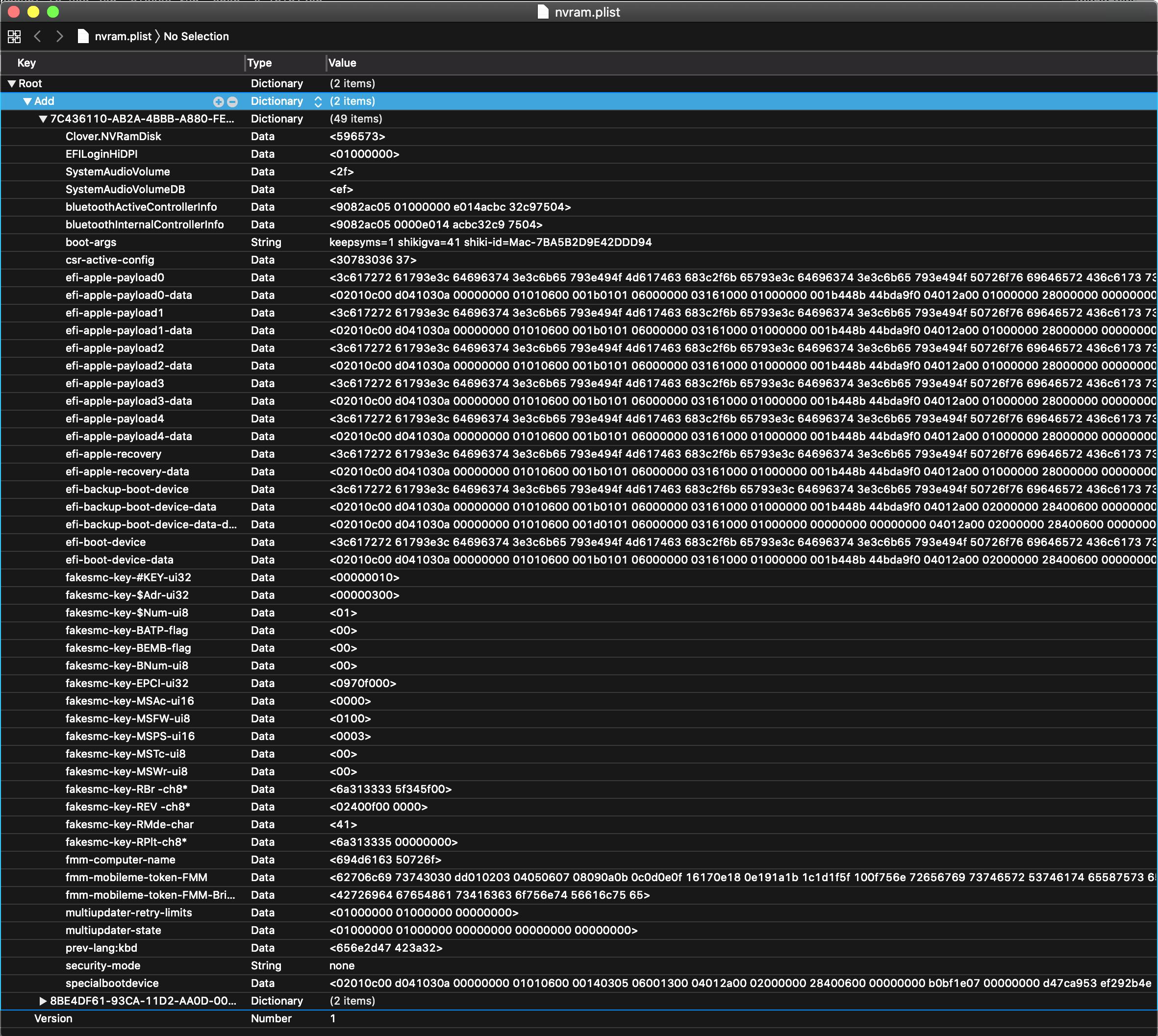 Newly Created NVRAM.plist