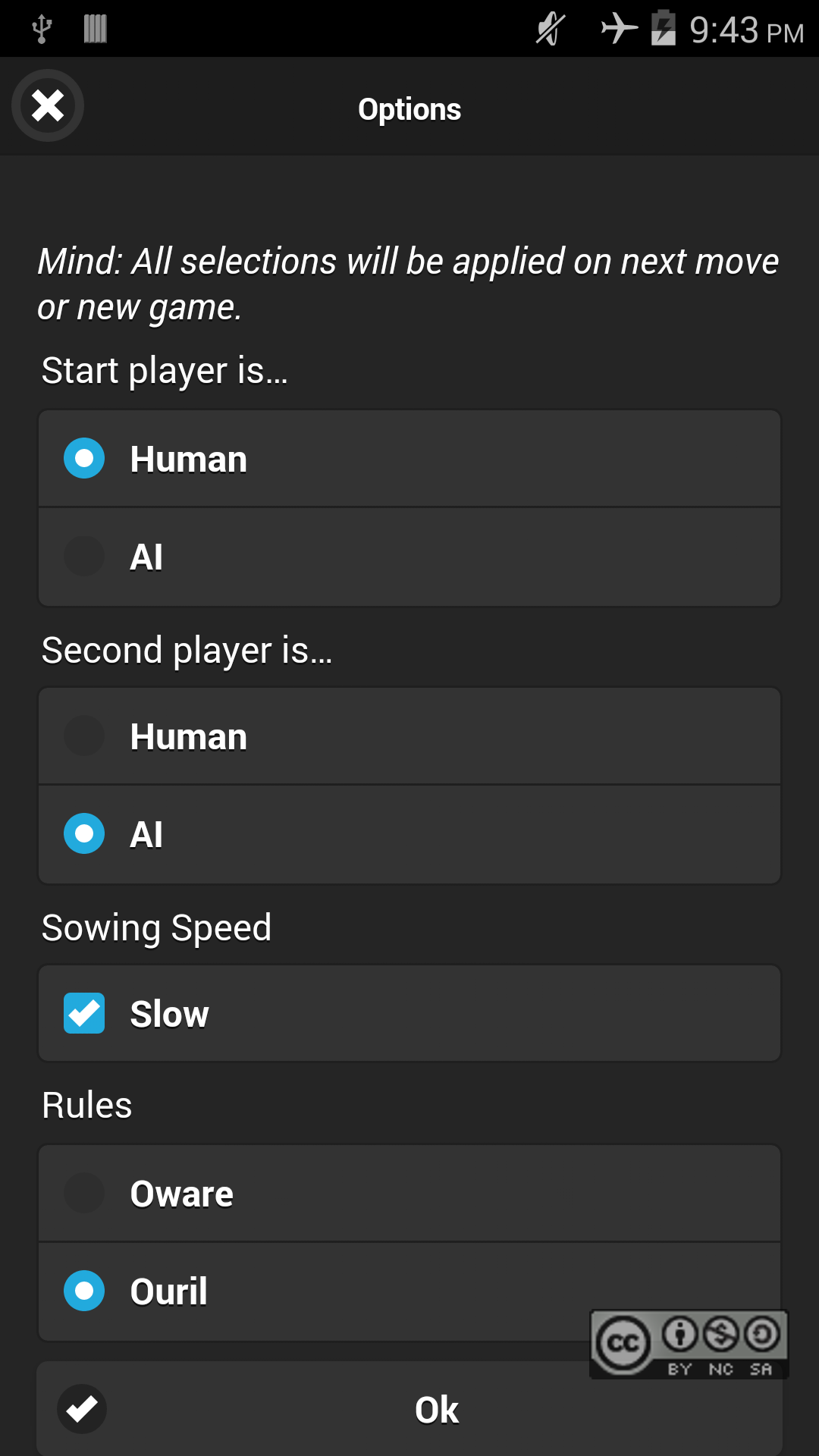 Switching to Ouril rules in options menu and select the AI MCTS computer player, own work, Oliver Merkel, Creative Commons License, This work is licensed under a Creative Commons Attribution-NonCommercial-ShareAlike 4.0 International License.