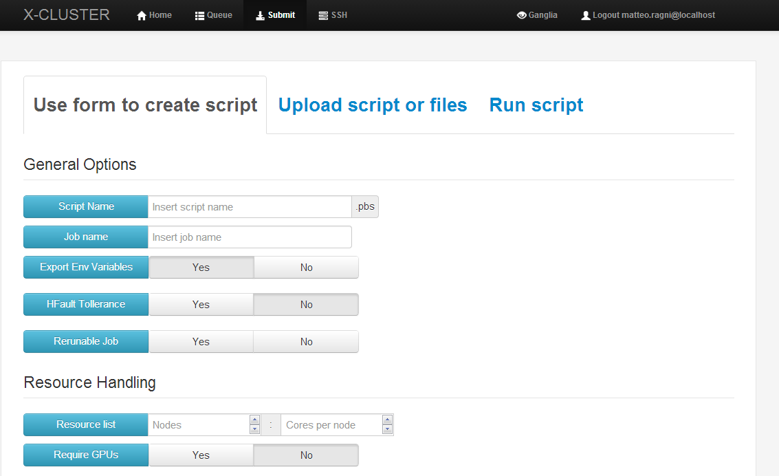 Submission form and PBS script generation