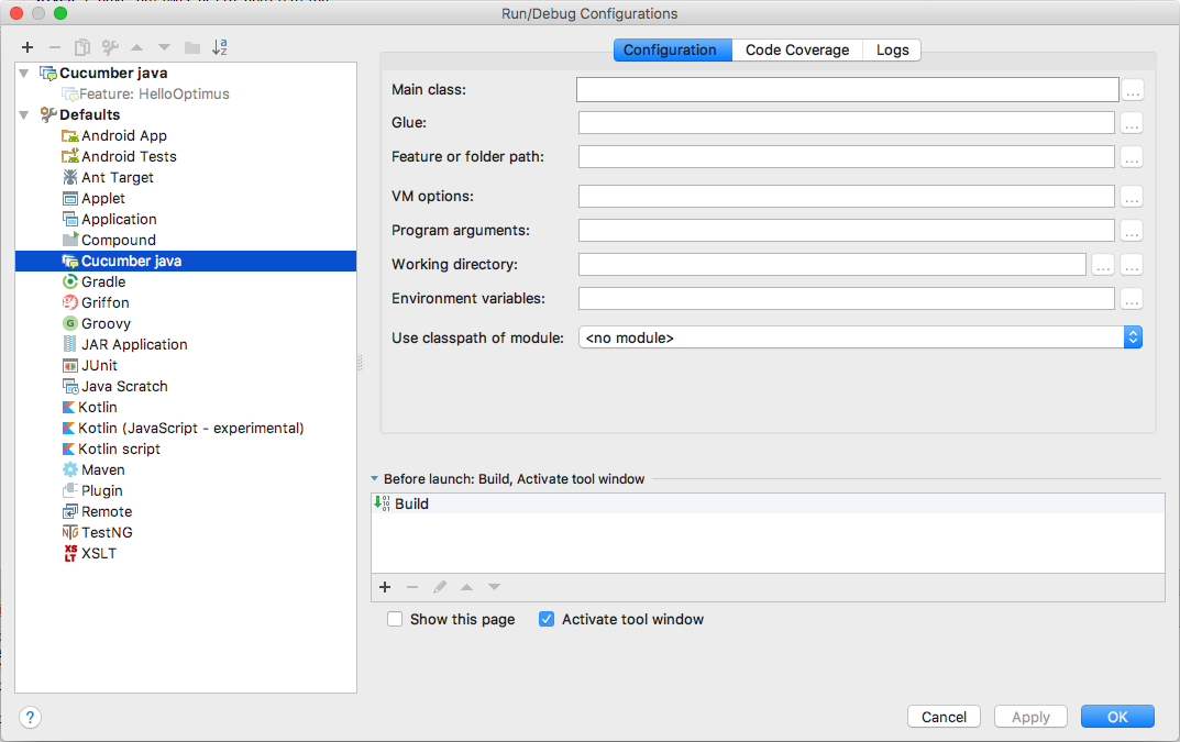 How to Run or Debug features from intellij · testvagrant