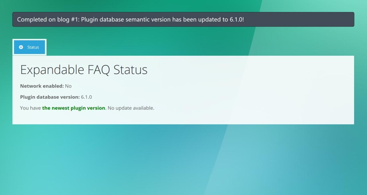 6. Expandable FAQ - Admin Plugin Status